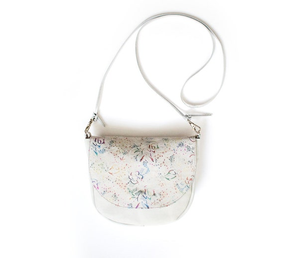 Pastel Leather Saddle Bag White Floral Crossbody Bag Small