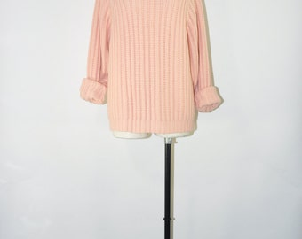 90s blush pink sweater / vintage ribbed knit sweater / 1990s minimalist pullover