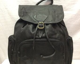 Large Backpack, Black, Leather, Backpack, Free US shipping