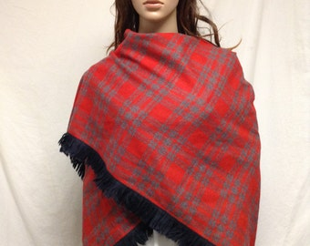 Plaid shawl,wool shawl,Red wrap, red plaid wrap,fringed