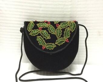 Christmas Bag, Black Velvet Bag, Beaded Bag, Black Pointsetter Bag Free shipping