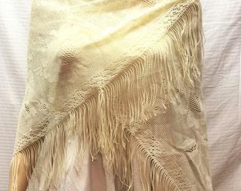 Lace Shawl, Off White, Wrap,fringed