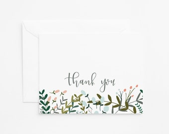 Floral Thank You Card Set of 8 | Illustrated Botanical Thank You Notecards with Hand Lettered Calligraphy: Garden Wreath Collection