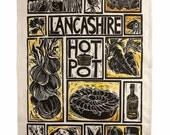 Lancashire Hot Pot illustrated Recipe Tea Towel, british recipe, Lancashire, Yorkshire, traditional local recipe, organic cotton