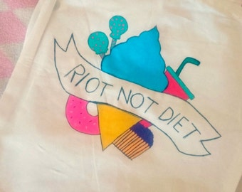Feminist Tote Bag, Riot Not Diet, Feminist Tote, Anti Patriarchy, Riots Not Diets, Riot Grrrl, End Diet Culture, Feminist Bag