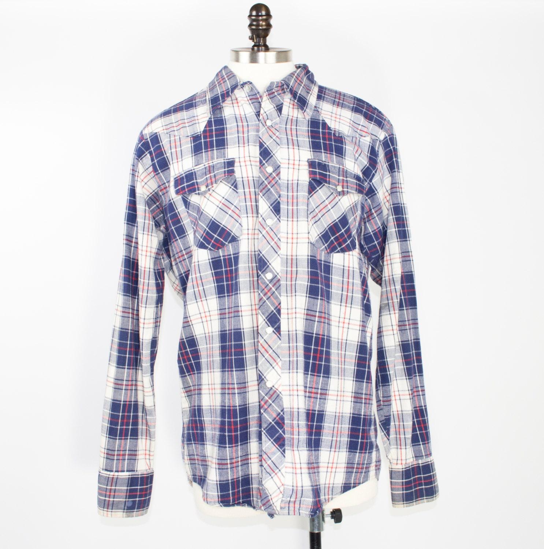 70s Vintage Plaid Western Shirt Blue Plaid Cowboy Shirt