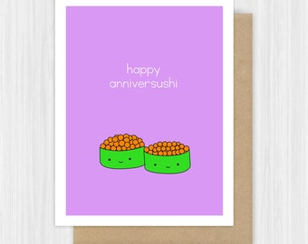 Happy Anniversary Card For Girlfriend Boyfriend Funny Sushi Pun Love Cute Handmade Greeting Cards Him Her Gifts Gift Ideas
