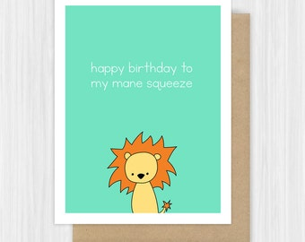 Funny Birthday Card For Boyfriend Husband Lion Pun Romantic Bday Fun Leo Love Happy Cute Handmade Greeting Cards Gifts Gift Ideas For Him