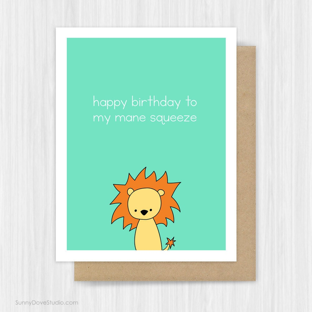 Boyfriend Card Funny Birthday Card Zombie Card By: Funny Birthday Card For Boyfriend Husband Lion Pun Romantic