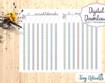 A5/Half Letter Planner Printable - 30 Day Habit Tracker, Purpley Hearts Design