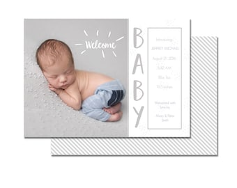 INSTANT DOWNLOAD, Photography Marketing, Photo Birth Announcement, Newborn Card, Layered Photoshop Template, Welcome Baby - 5x7, Infant