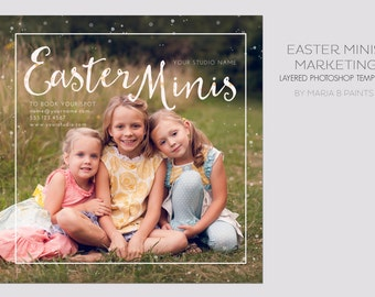 INSTANT DOWNLOAD, Easter Mini Session Photography Template, Marketing Template, Kids, Watercolor, Simple, Elegant, Pricing Sheet, Postcard