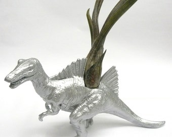 Silver Spinosaurus Dinosaur Planter with Air Plant // Coworker Gift // For Her // For Him