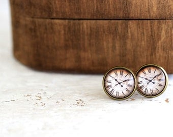 Clock Earrings, Clock Studs, Retro Clock Earrings, Clock Jewelry, Retro Clock, Watch Earrings, Retro Watch Earrings, Steampunk Studs