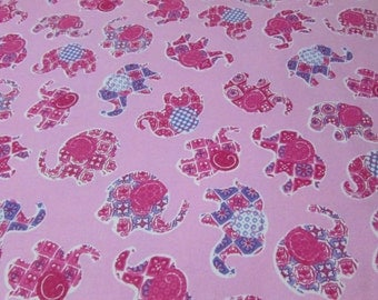 Flannel Fabric - Pink Elephants - 1 yard - 100% Cotton Flannel
