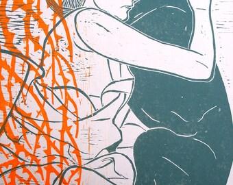 Woodcut // Woodblock print with fluorescent orange //  11,8'' x 15,7 '' // Dog