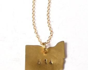 Gold 614 Ohio Necklace - Hand Stamped - Columbus Love - Local gifts