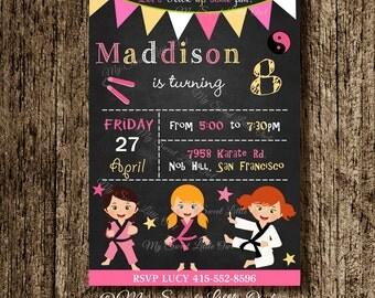 Chalkboard Karate invitation - girl Karate invite - taekwondo printable - karate baby shower - karate birthday - taekwondo invitation
