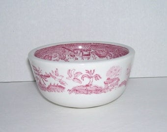 Vintage Jackson China Red Pink Willow Heavy Restaurant Ware Bowl