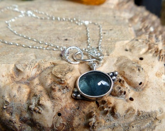 "Moss Aquamarine and sterling silver necklace // 18.5"" chain // Metaphysical // Handmade // Aquamarine jewelry"