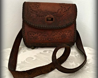 Hand tooled leather purse, Mexican leather bag, Leather handbag, Vintage leather purse, Hand Tooled Purse,