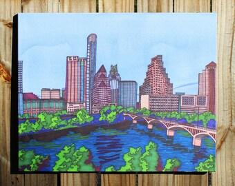 """Austin Skyline: Texas 24""""X30"""" CANVAS PRINT"""