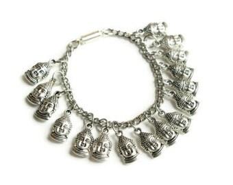Silver Buddha Bracelet, Dangling Charm Bracelet, Buddha Jewlery Bracelet