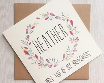 Will you be my bridesmaid card - Bridesmaid card - Personalised bridesmaid card - maid of honor card - flower girl card