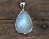 White Rainbow Moonstone Pendant Bezel set in Solid Sterling Silver, Gemstone Jewelry,  Blue Flash White Moonstone WST36