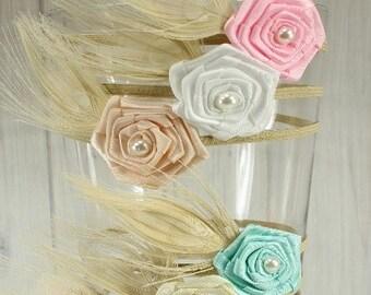 Rose, Pearl & Feather Skinny Elastic Headband