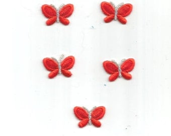 5 PC Silver Red Butterflies Tiny Small Iron On Patch Applique