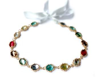 Gemstone Headband Jeweled Headband Rhinestone Halo Bridal Halo Crystal Headband Bridal Headband Rhinestone Tiara Gold Hairpiece