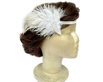 Ivory Feather Fascinator Gatsby Headpiece Leaf Flapper Feather Headband White Beads and Ivory Ostrich Feathers Gatsby Wedding Dance Costume
