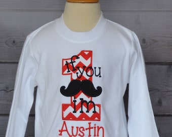 Personalized Birthday Mustache Applique Shirt or Onesie Girl or Boy