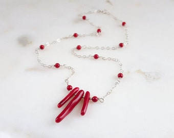 Red Coral Branch Beaded Sterling Silver Station Necklace Coral Pendant Organic Gemstone Summer Beach Jewelry Layering Chain Life Bijou