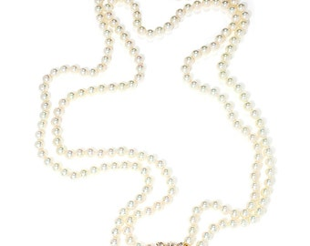 """South Sea Pearl Double Strand Necklace Diamond Clasp 14K Gold 1.50ctw 7.5-7.75mm 32"""""""