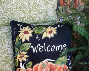 New! Sunflowers with Pumpkins, Black, Hand-painted, Indoor/OutdoorCushions, Fall, Thanksgiving, Pillow Cover, No.  101