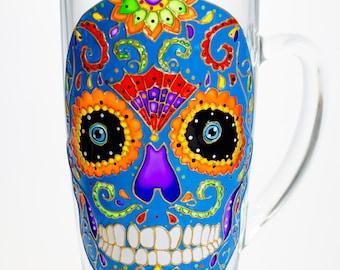 Day of The Dead Sugar Skull Mug Original Hand Painted Mexican Folk Art Design Dia de los Metros Wedding Gift