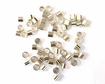 Sterling Silver Crimp Beads, 2x3 silver crimp tubes, 925 Sterling Silver Crimps, sterling Silver Crimps, Silver Crimps, 100 PCS