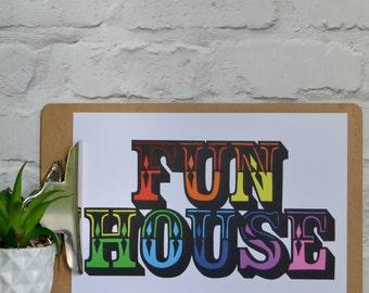 Family gift , fun house print , fun print , family house , gift for the home , gift for a family , bright art , circus print , fun gift