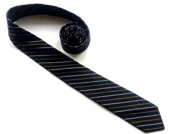 "Skinny Black Striped Tie, 56"" x 2"",Vintage Silk Tie, VAN HEUSEN,Black Silk Tie,Thin Diagonal Stripe Tie,Hipster Tie,Narrow Tie,Retro Tie"