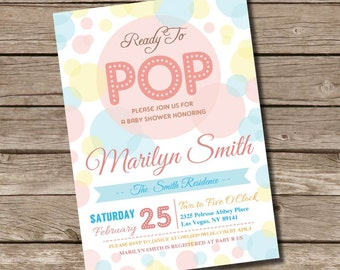Ready To Pop BABY Shower Printable 5 x 7 inch Invitation, INSTANT DOWNLOAD, You Edit Yourself with Adobe Reader