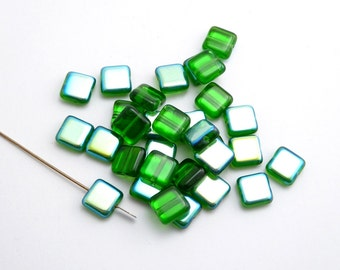 60 x Green AB Square Czech Glass Beads, 8mm Green Square Beads, Green Czech Beads, Geometric Beads SQU0013