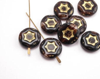 Marbled Brown Star Coin Czech Glass Beads, (5 pcs) 17mm Brown Coin Beads, Star Coin Beads, Czech Coin Beads, Czech Glass Coin Bead CON0103