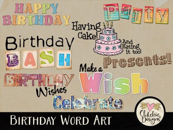 Happy Birthday Word Art Clipart Happy Birthday Digital