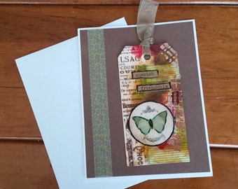 Cherish Friendship, Original Mixed Media Tag Greeting Card, One of a Kind Collage Art, Handmade Card