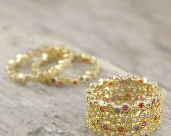 Topaz Stacking Rings, Gold Rings, White Topaz Rings, Mulit-coloured Rings, Mixed Gemstones, Gold Topaz Ring, Stackable Rings, Summer Rings