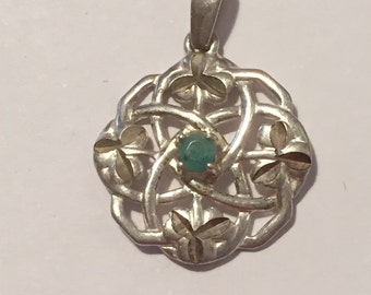 Celtic Emerald Sterling Pendant Trinity Knot 925 Silver Ireland Irish Vintage Jewelry Birthday Mother's Gift St. Patrick's Slide 4 Necklace