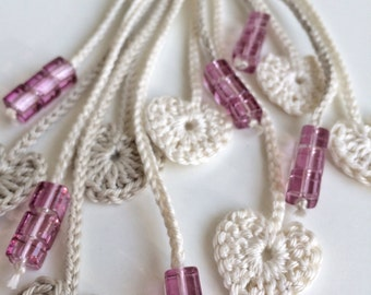 Limestone and cream hearts long beaded crochet necklace