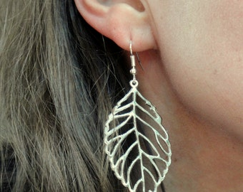 Silver leaf earrings, Large leaf earrings, Silver filigree leaf earrings, Boho style earrings